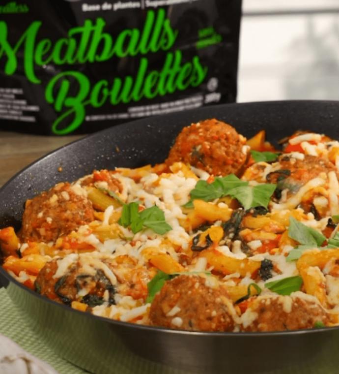 Baked Ziti & Meatballs Skillet