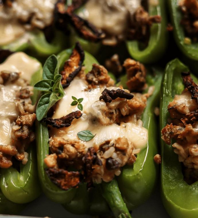 Mushroom & Rice Stuffed Peppers